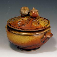 Hand-Thrown, Stoneware, 1 Quart, Acorn-Topped Casserole, John Bauman