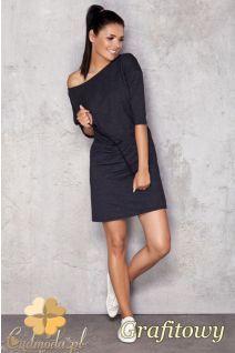 fe48b4c769 CM1201 Sukienka dresowa z grubej dzianiny - grafitowa Nieskończony