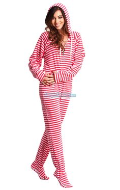 Pink Candy Stripes Hooded Adult Pajamas. These one piece pyjamas feature a hoody, thumb holes and front pockets. The Pink Candy Stripes pjs are guaranteed to be a hit wherever you go!!   $44.99