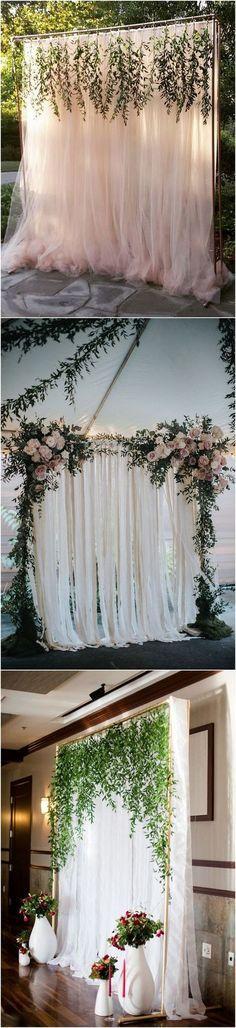 elegant outdoor wedding backdrop ideas with greenery garland