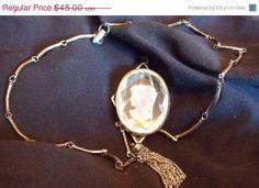 Sale Vintage Crystal Intaglio Necklace  Silver by EstatesInTime