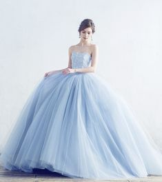 A by Hatsuko Endo - Baby Blue Wedding Dresses, Wedding Dress With Veil, Wedding Gowns, Glam Dresses, Pretty Dresses, Beautiful Dresses, Quince Dresses, Ball Gowns Prom, Fairy Dress