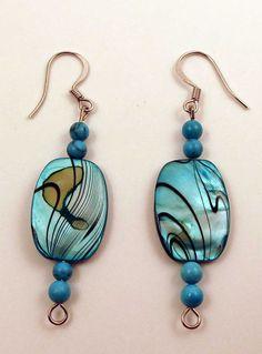 Earrings - turquoise shell