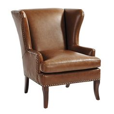 Peterson Leather Wing Chair with Pewter Nailheads