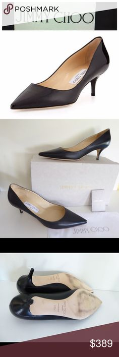 "Jimmy Choo $595 Aza Kitten Heel Pump, Black Jimmy Choo $595 Aza Kitten Heel Pump, Black leather Sz 38.5     Black leather pump.        Size 38.5        Retail price $595        Pointed toe; single sole.        Dipped collar lengthens legs.        Leather lining and sole.        2"" covered heel. ""Aza"" is made in Italy. Tried on a couple of times in the house only – never worn Original box and dustbag included Jimmy Choo Shoes Heels"