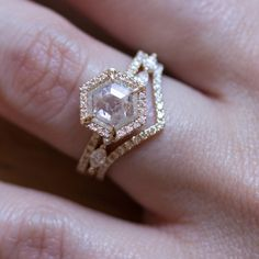 Interview With Alexandra Cole Nelson Of Everett Nyc - The Jewelry You Need To See - rose gold and diamond hexagon cut engagement ring