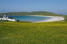 Looking west to Baephuil Bay, Tiree across the machair Inner Hebrides - Scotland