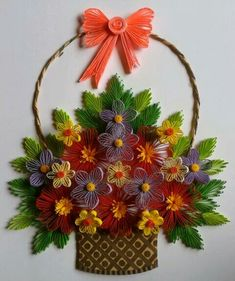 A qilled basket of flowers...