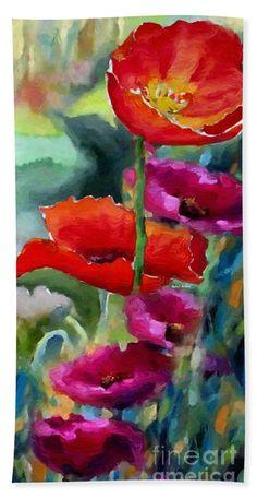 Towel - Poppies In Watercolor