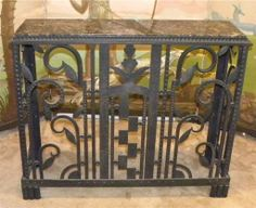 Art Deco Iron Console / Radiator Cover | From a unique collection of antique and modern console tables at http://www.1stdibs.com/furniture/tables/console-tables/