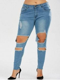 Denim Blue Skinny Ripped Jeans
