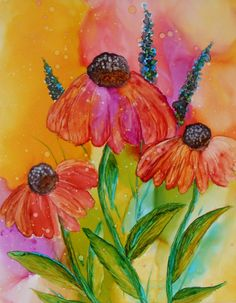 Cone Flowers an original alcohol ink by PaintedCreekStudio on Etsy