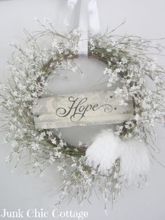 It would be a beautiful Winter wreath idea. If I keep getting inspired by all these wreaths. Making wreaths is definitely my favorite craft projects. Couronne Shabby Chic, Shabby Chic Kranz, Shabby Chic Wreath, Noel Christmas, Christmas Wreaths, Christmas Decorations, Winter Wreaths, White Christmas, Xmas