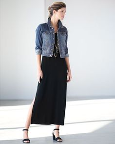Eileen Fisher Denim Cropped Jacket & Floor-Length Jersey Dress, Plus Size Dressy Outfits, Fall Outfits, Fashion Over 40, Fashion Looks, Estilo Jeans, Eileen Fisher, Sexy, Dresser, Style Inspiration