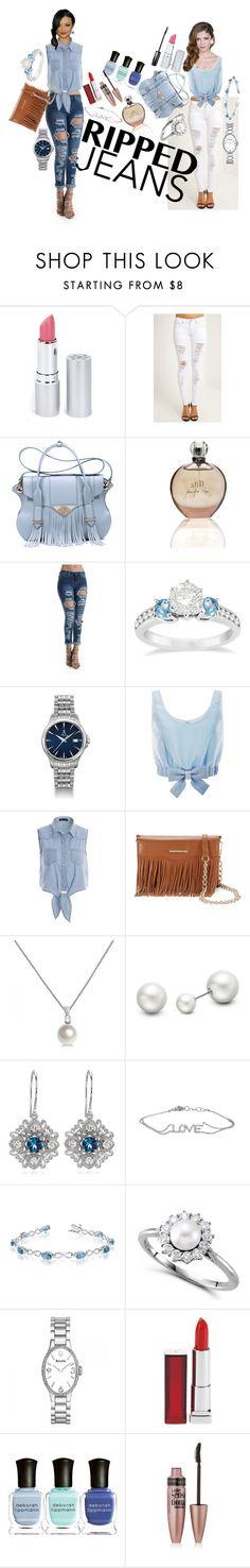 """Style This Trend: Ripped Jeans"" by allurez ❤ liked on Polyvore featuring HoneyBee Gardens, Ella Rabener, JLo by Jennifer Lopez, Allurez, Honor, Rebecca Minkoff, Bulova, Maybelline and Deborah Lippmann"