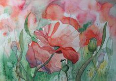 Unsere verkauften Bilder 2012 | Mohnblüten (c) Aquarell von Frank Koebsch #Aquarell #Mohn #watercolor #poppies