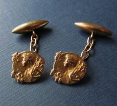 Antique French Gold Fix Cufflinks Art Nouveau by SarahAndJohns