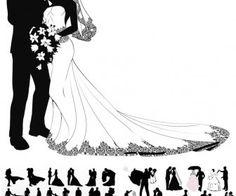 Wedding couple silhouettes vector