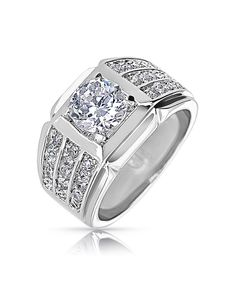 Bling Jewelry Mens Cubic Zirconia Classic Pave Triple Band Ring