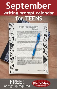 The 20 writing prompts in this free printable September writing prompt calendar provide the perfect amount of structure to stimulate your high schooler while allowing for plenty of creative expression. Writing Prompts 2nd Grade, Kindergarten Writing Prompts, Writing Prompts Funny, Writing Prompts For Writers, Picture Writing Prompts, Teaching Writing, Writing Skills, Writing Ideas, Creative Writing