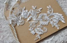 Alencon Lace Applique Ivory Embroidered Patch Rose by Lacebeauty, $3.99
