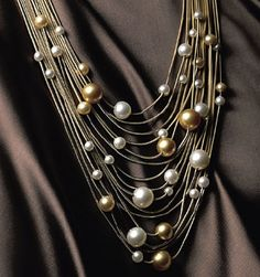 Draped pearl necklace - diamond clasps allow conversion to a bracelet. Mikimoto's Couleur Soleil collection. jewellery, jewelry