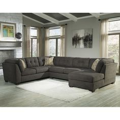 RAF Chaise Sectional by Ashley Furniture. Get your Delta City - Steel 3 Pc. RAF Chaise Sectional at Railway Freight Furniture, Albany GA furniture store. Shop Furniture Online, At Home Furniture Store, Large House Furniture, Furniture Design, Furniture Decor, Living Room Sectional, Sectional Sofa, Fabric Sectional, Couch