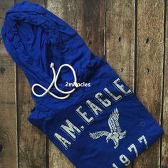 American Eagle Summer Mens Blue Lightweight Pullover Hoodie Sweatshirt M NWT…