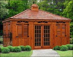 Fancy 12 x 16 Red Cedar Rectangular Cabana,shown with Cedar Shake Shingles, Cupola, Custom French Double Doors, Louvered Shutters and Cedar Tone Stain/ Sealer