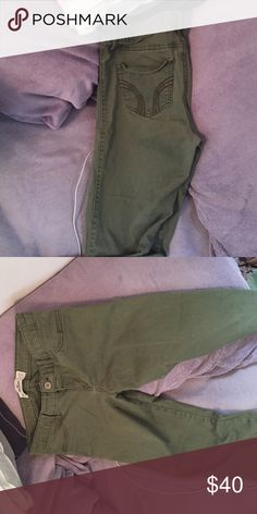Olive green Hollister Jeggings. Worn once I only wore the jeans once and they're in really good condition!! Hollister Jeans Skinny