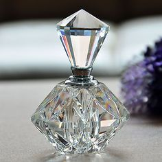 Vintage Cut Crystal Carved Perfume Bottle Glass Art Clear Bottle Gift Refillable | eBay