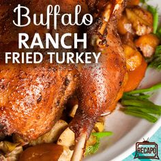 Rachael Ray and John McLemore worked together to prepare a Buffalo Ranch Fried Turkey Recipe using a Masterbuilt Butterball Indoor Turkey Fryer.