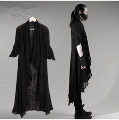Black/Grey Men's Punk Rock Linen Long Sleeves Cape Shirt Avant Garde Coat
