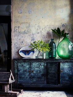 See how a huge Demijohn display on a cupboard can look just beautiful! #LaBoutiqueVintage
