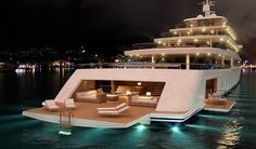 Probably the only boat I would be happy to go on :p Nauta-luxury-yacht-PROJECT-LIGHT-by-night. Super Yachts, Beverly Hills, Yachting Club, Jet Privé, Grand Luxe, Billionaire Lifestyle, Yacht Boat, Water Crafts, Catamaran