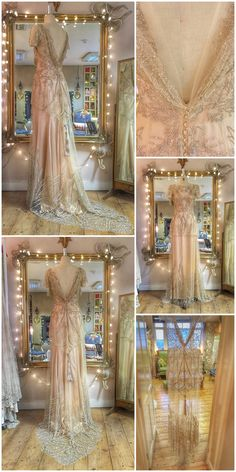 Pale gold and silver beaded tulle and silk Art Deco wedding dress by Joanne Fleming Design