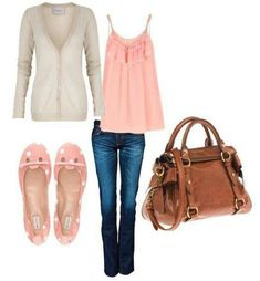 Cute casual outfit. Blue jeans, leather purse, flats, jacket. Might change the color pink for green. Fashion.