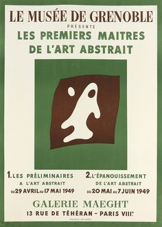 Les Premiers Maitres de l'Art Abstrait (1949). Jean (Hans) Arp (French, 1886-1966). Mourlot, Paris. Poster. For this show in Paris of the early masters of abstract art drawn from the Museum's collection, Arp created this original lithograph (not a design after one of the artist's paintings as was customary with most exhibition posters).