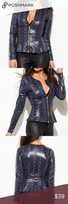 """Navy Snake Print Faux Leather Peplum Jacket Top Navy Snake Print Faux Leather Peplum Jacket Top!  - Lightweight  - Gold zipper - Long sleeve - Peplum style  - A bit stretchy & unlined - 96% Polyester & 4% Spandex - Made in USA  * See photos for size chart from vendor.  * Model: 5'9"""", chest 32C, waist 25"""", hips 35"""", wearing a size small. Tops"""