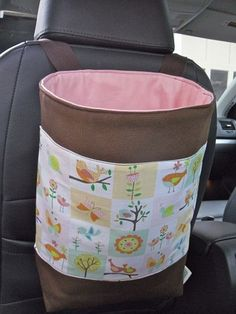 Car Toy Organizer Brown Pink Birds by LittleSproutBaby on Etsy