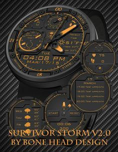 Moto 360 Survival Storm v2.0 watch face preview
