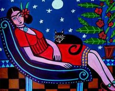 50% Off Today - Mexican Folk Art - Black Cat FRIDA KAHLO art  Poster Print of painting by Heather Galler