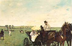 Hoofdstuk 3 pag. 67  Edgar Degas; Rijtuig tijdens de paardenrennen 1869