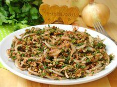 Bezirgan Salatası Tarifi Falafel, Coleslaw, Salads, Pasta, Appetizers, Food And Drink, Keto, Fish, Meals