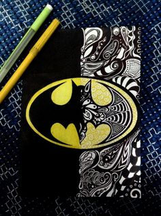 Batman Zentangle. COULD DO FOR ANY LOGO