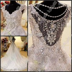 Wholesale NEW Cap sleeve Luxury Applique Luxury Beaded Crystal Lace up Wedding…