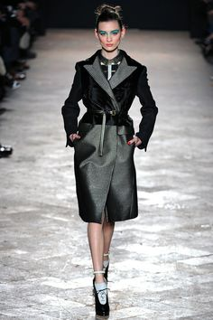 Aquilano.Rimondi Fall 2013: So many ankle straps. Belted coats look fab, but they a little impractical.