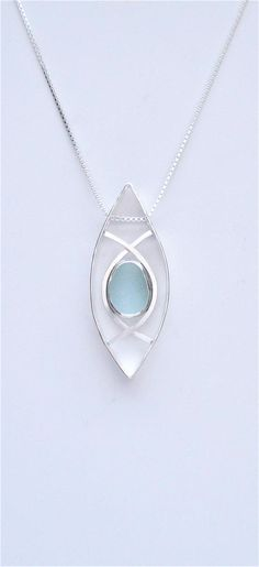 Sea Glass Jewelry Sterling Blue Sea Glass Necklace