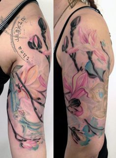 magnolia flower tattoo on half sleeve - 50+ Magnolia Flower Tattoos