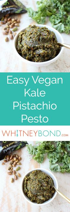 Fresh kale, pistachios and coconut oil are combined in this vegan, gluten free, healthy pistachio pesto recipe, perfect with pasta, chicken or on pizza! Scoop this delicious pesto up with a Gold Wave Spoon from @worldmarket! #WorldMarketTribe